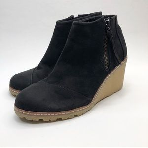 Toms Black Suede Wedge Ankle Bootie